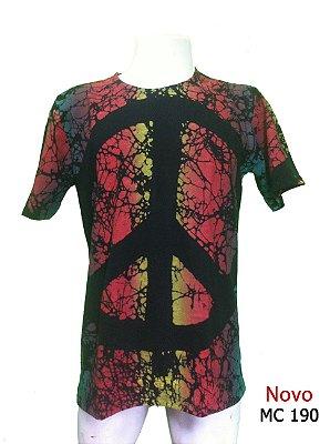 Camiseta Indiana Masculina Tie-Dye Paz e Amor Preta