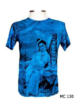 Camiseta Indiana Masculina Lakshmi e Vishnu Azul