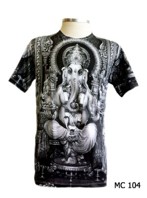 Camiseta Indiana Masculina Ganesha Cinza