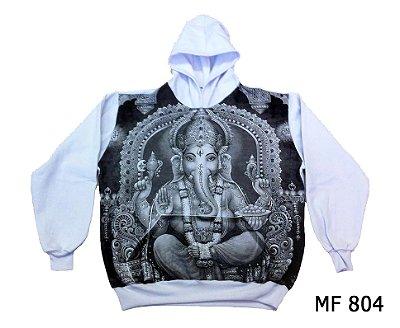 Moletom Indiano Flanelado Com Capuz Unissex Ganesha Branco