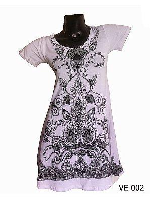 Vestido Indiano Curto Estampado Branco