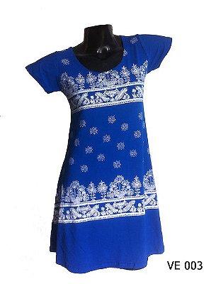 Vestido Indiano Curto Estampado Azul