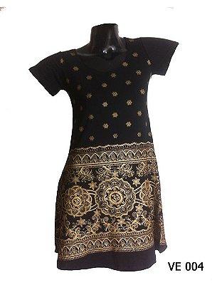 Vestido Indiano Curto Estampado Mandala Om Preto