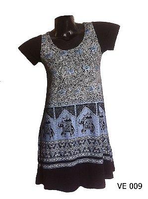 Vestido Indiano Curto Estampado Elefantes Preto