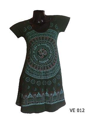 Vestido Indiano Curto Estampado Mandala Mantra Om Verde