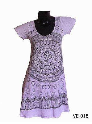 Vestido Indiano Curto Estampado Mandala Mantra Om Branco