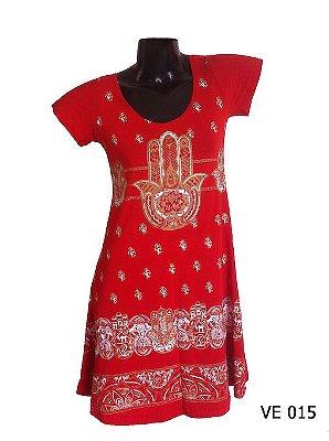 Vestido Indiano Curto Estampado Hamsá Vermelho