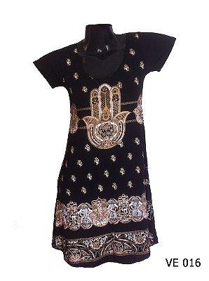 Vestido Indiano Curto Estampado Hamsá Preto