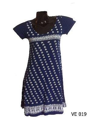 Vestido Indiano Curto Estampado Marinho