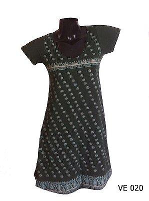Vestido Indiano Curto Estampado Verde Musgo