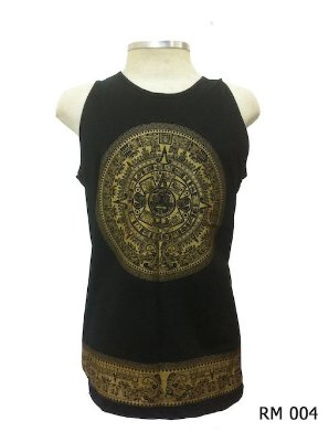 Regata Indiana Masculina Mandala Asteca Preta