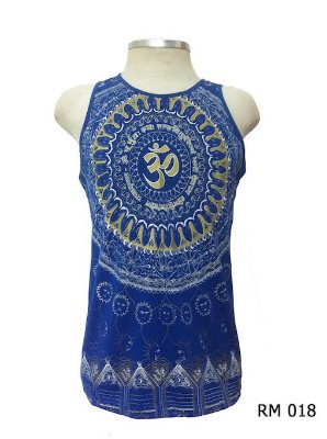 Regata Indiana Masculina Mandala Mantra Om Azul