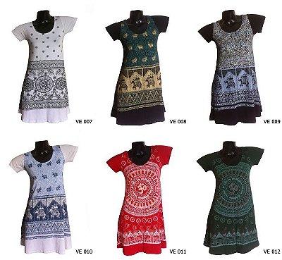 Kit/Lote 10 Vestidos Indianos Curtos Estampados - Várias Estampas