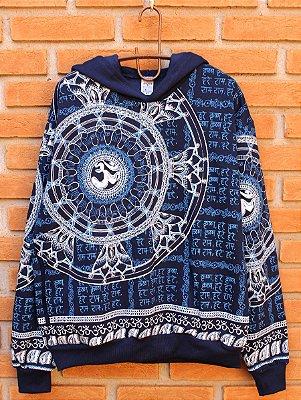 Moletom Indiano Flanelado Com Capuz Unissex Mandala Flor de Lótus Azul