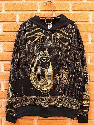Moletom Indiano Flanelado Com Capuz Unissex Egito Olho de Hórus Preto