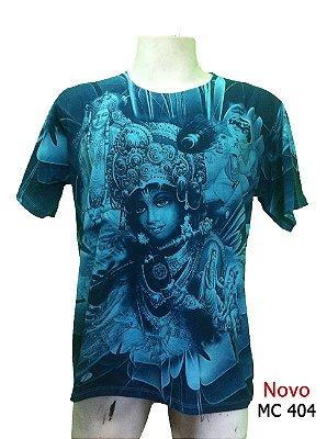 Camiseta Indiana Masculina Deuses Lakshmi Azul