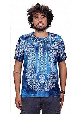 Camiseta Indiana Unissex Peitoral Tie Dye Marinho