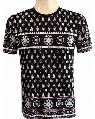 Camiseta Indiana Unissex Mandalas Preta