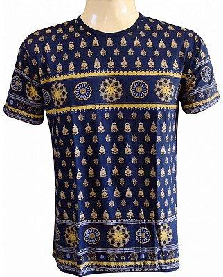 Camiseta Indiana Unissex Mandalas Azul Marinho