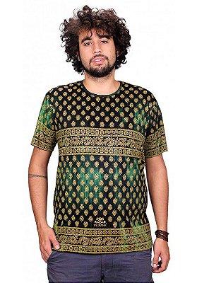 Camiseta Indiana Unissex Tradicional Solzinho Tie Dye Verde