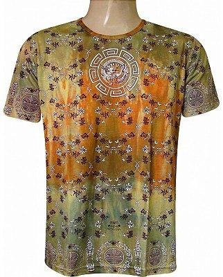 Camiseta Indiana Unissex Tie-Dye Mandala Amarela