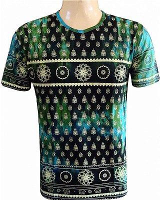 Camiseta Indiana Unissex Tie-Dye Mandalas Turquesa