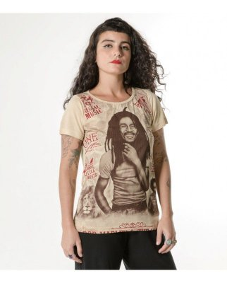 T-shirt Indiana Feminina Bob Marley e The Wailers