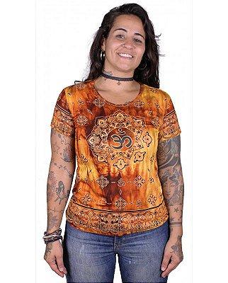 Baby Look Indiana Feminina Mantra Om Tie-dye Laranja