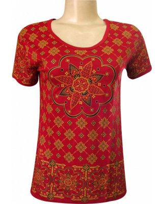 Baby Look Indiana Feminina Mandala Floral Vermelha