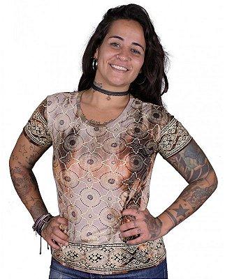 Baby Look Indiana Feminina Star Tie Dye Caqui