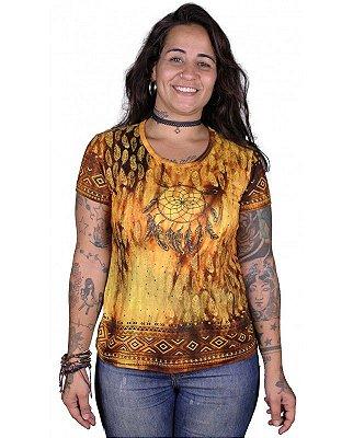Baby Look Indiana Feminina Filtro dos Sonhos Tie Dye Caqui