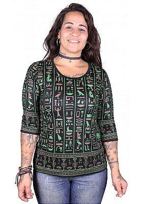 Baby Look 3/4 Indiana Feminina Egito Preta