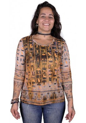 Baby Look 3/4 Indiana Feminina Egito Tie Dye Caqui