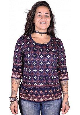 Baby Look 3/4 Indiana Feminina Lírio Roxa