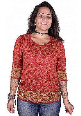 Baby Look 3/4 Indiana Feminina Star Vermelha