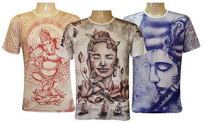 Kit 3 Camisetas Indianas Unissex Deuses Sortidas