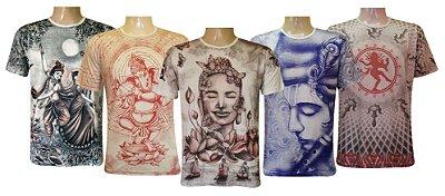 Kit 5 Camisetas Indianas Unissex Deuses Sortidas