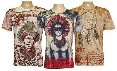 Kit 3 Camisetas Indianas Unissex Xamânicas Sortidas
