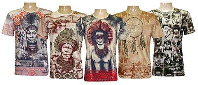 Kit 5 Camisetas Indianas Unissex Xamânicas Sortidas