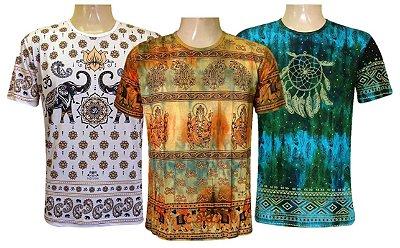 Kit 3 Camisetas Indianas Unissex Tradicionais Sortidas
