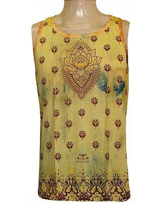 Regata Indiana Masculina Flor de Lótus Tie-Dye Amarela