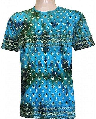 Camiseta Indiana Unissex Extra Grande Tie Dye Turquesa