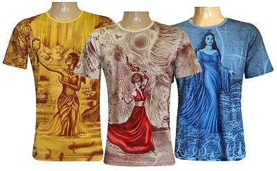Kit 3 Camisetas Indianas Unissex Orixás Sortidas