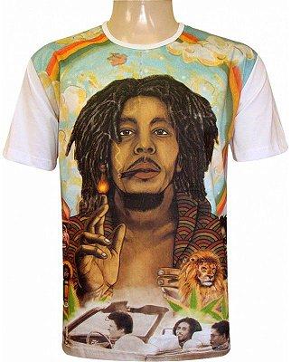 Camiseta Indiana Unissex Bob Marley Branca