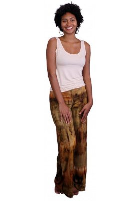 Calça Indiana Pantalona Tie Dye Caqui