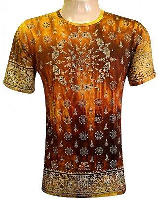 Camiseta Indiana Unissex Mandala Tie-Dye Amarela