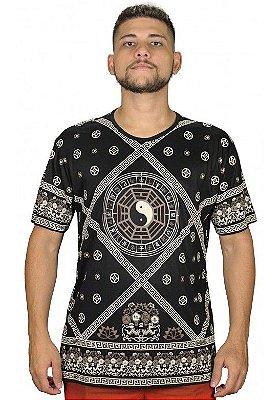 Camiseta Indiana Masculina Tao Yin-Yang Preta