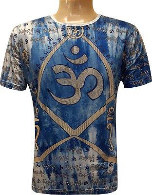 Camiseta Indiana Unissex Mantra Om Tie-Dye Royal