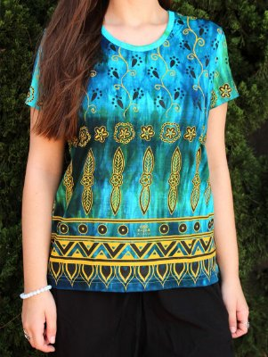 Baby Look Indiana Feminina Floral Tie-dye Turquesa