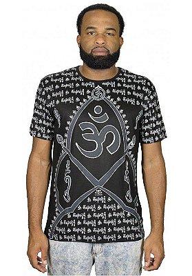 Camiseta Indiana Unissex Mantra Om Preta